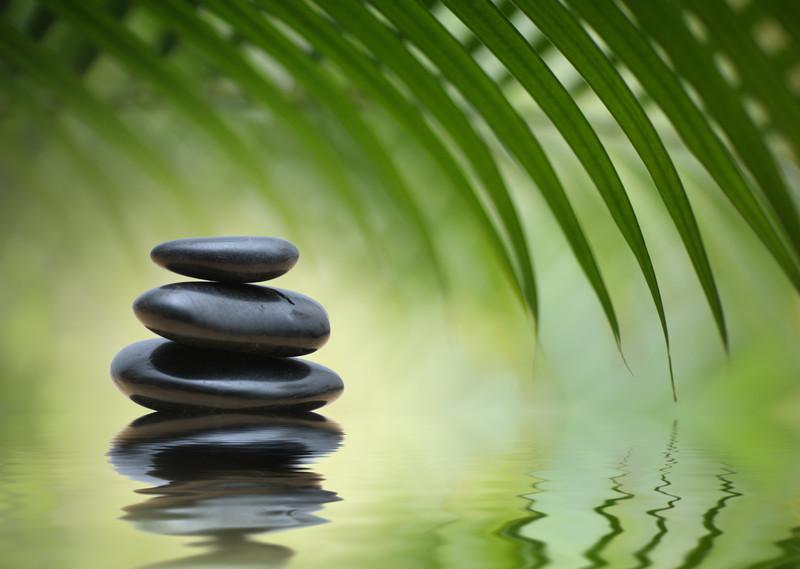 reflect rocks water